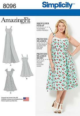 Simplicity Amazing Fit SEWING PATTERN 8096 Womens Dress 18W-24W Or 26W-32W