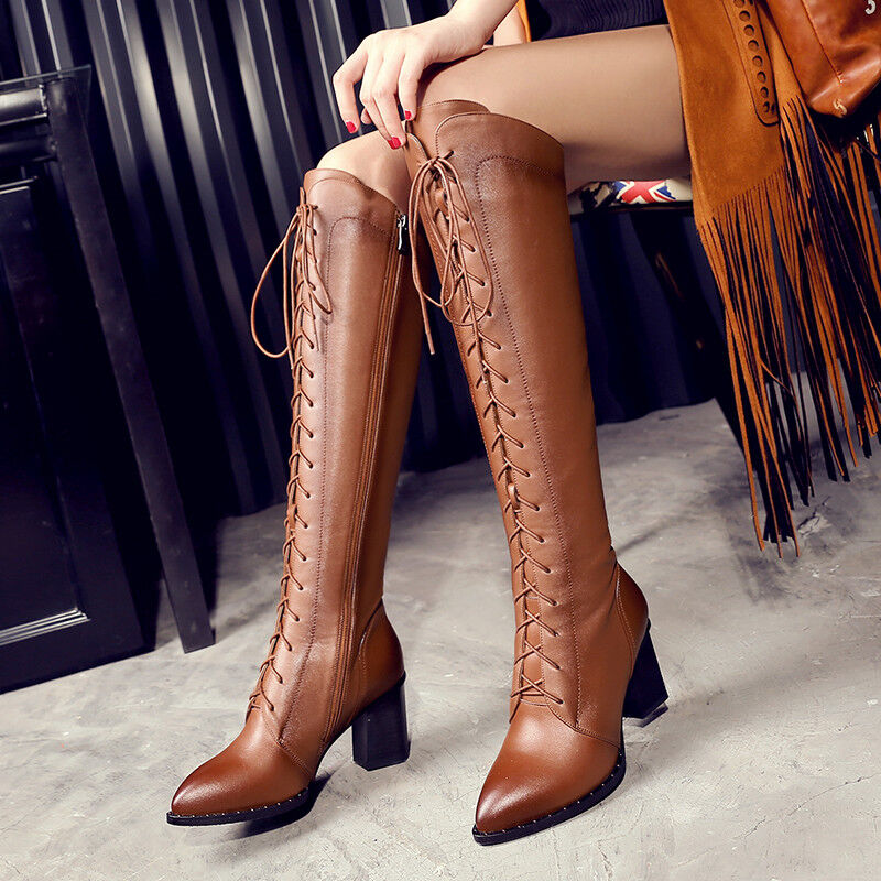 Retro femmes Faux Leather Pointed Toe Block Heels Lace Up Riding Knee High bottes