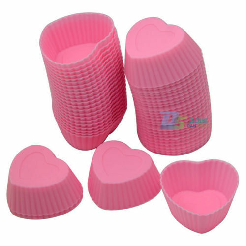 20PCs Silicone Soft Cake Chocolate Heart Cupcake Bakeware Baking Cup Mold Moulds