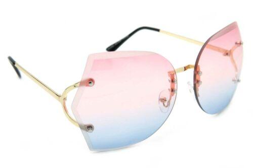 Übergröße Randlose Sonnenbrille Metallrahmen Farbe Linse Damen Mode Kostüm