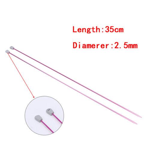 En aluminium 2PCS seule négo Knitting Needles Pins Straight BRICOLAGE Coudre Tissage Outil