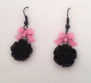 Image Is Loading Cute Earrings Pink Metal Bow Black Rose