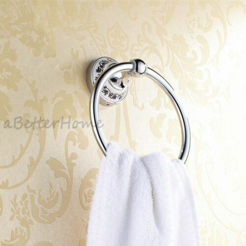 Chrome Bathroom Wall Mounted Towel Ring Rack Round Hand Towel Hanger Ceramic