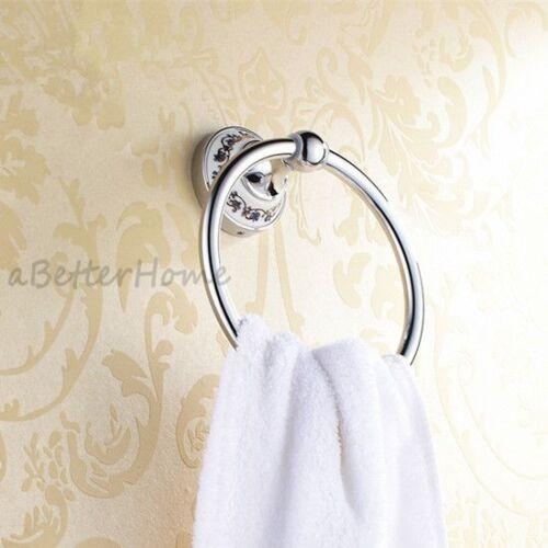 Chrome Bathroom Wall Mounted Towel Ring Rack Round Hand Towel Hanger Ceramic