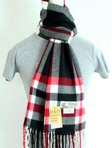 DG Men/'s Winter Scarf Check-Plaid.White Black.Cashmere Feel-Warm Soft*Unisex