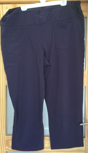 Ladies Grape Light Weight Casual Comfort Rib Trousers available in size 24,28