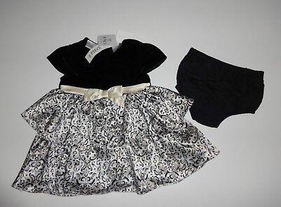 Kleid~USA~56-62~2 tlg~festlich~Babykleid~FAQ~Luxus~Markenware~weiß-schwarz~gold