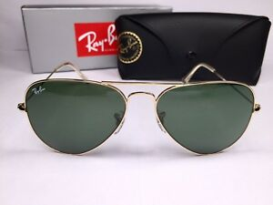 988e477158 Authentic Ray Ban Aviator RB3025 L0205 58 Sunglasses Gold With Green ...