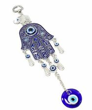 """Turkish Blue Evil Eye 2.5"""" Hamsa Hand Elephant Amulet Wall Protection Hanging"""
