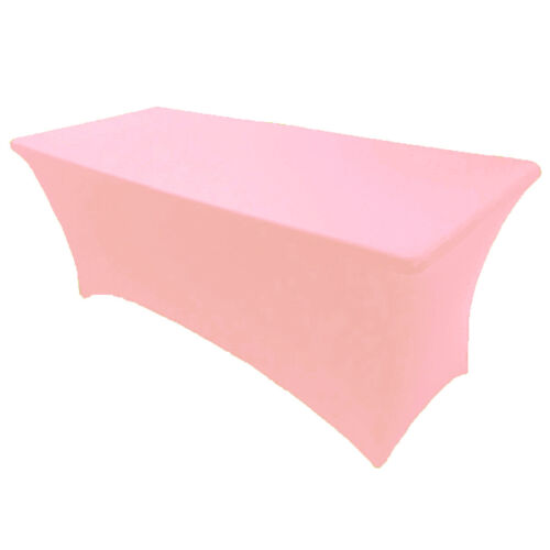 4/' ft x 2.5/'ft Spandex Fitted Stretch Tablecloth Table Cover Wedding Pink