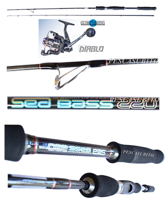 Attrezzatura Per Pescatori Kit Canna Sea Bass 2.20m 20/40g Mulinello Diablo Pesca Spinning Spigola Tp Volume Large