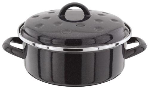 Black Enamel Round Roaster with lid 20 cm Black Enamel Lidded Roasting dish