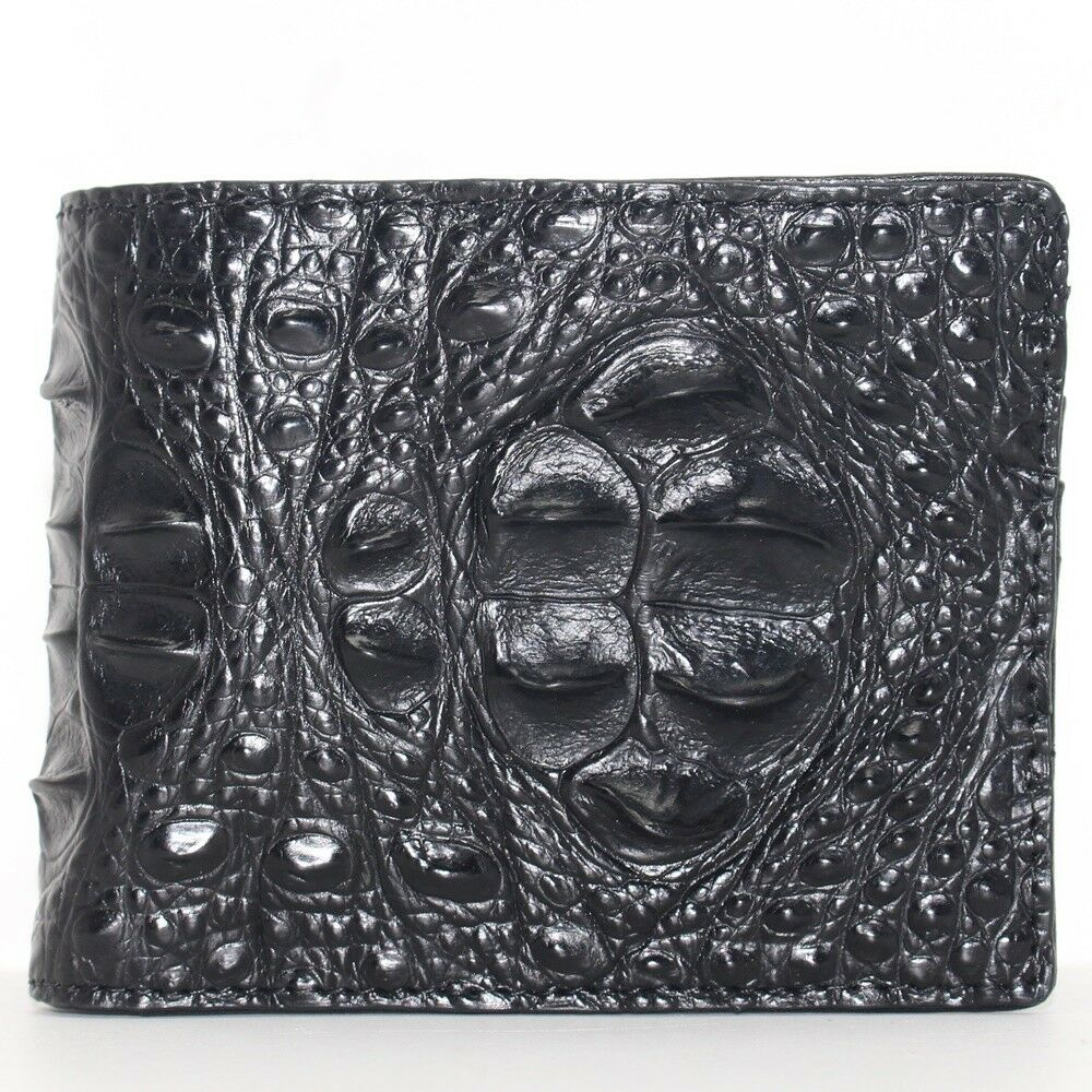Genuine Crocodile Alligator Head Bump Skin Leather Handmade Wallet Black