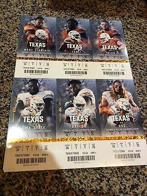 2018 Texas Longhorns Football Season Ticket Strip Sheet Stub Set Ebay