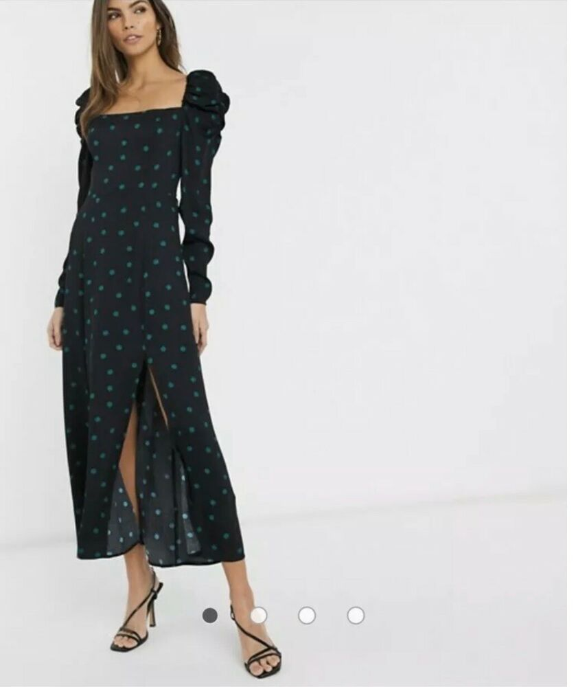 & Other Stories Polka Dot Puff Manches Midi Robe En Noir Uk Taille 12-14