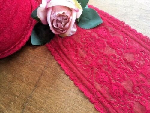"""laverslace Beautiful Rose Red Wide Soft Stretch Lace Trim 6.5/""""//16.5cm Clothing"""
