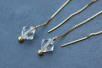 Diamonds And Gold Earrings -5 Inch Gold Plated Threaders W/ Crystal Bicones