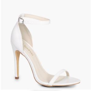 Boohoo Minimal White Two Strap Sandals