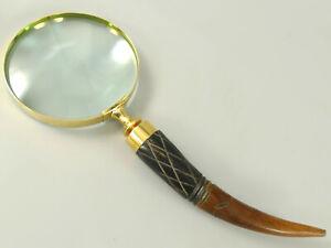 Lupe Aus Glas Alte Berufe Lupeneinfassung Aus Messing Griff Aus Bein Ca27cm Lang,dm10cm /11