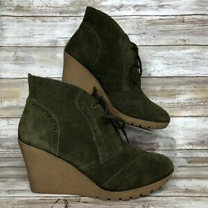 e7ac96199d93 Mia 7M Raphaella Olive Green Suede Wedge Lace Up Ankle Boots Womens ...