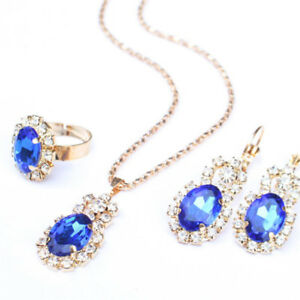 Details Sur Crystal Stone Wedding Jewelry Sets For Brides Necklace Earrings Set Gift Ih