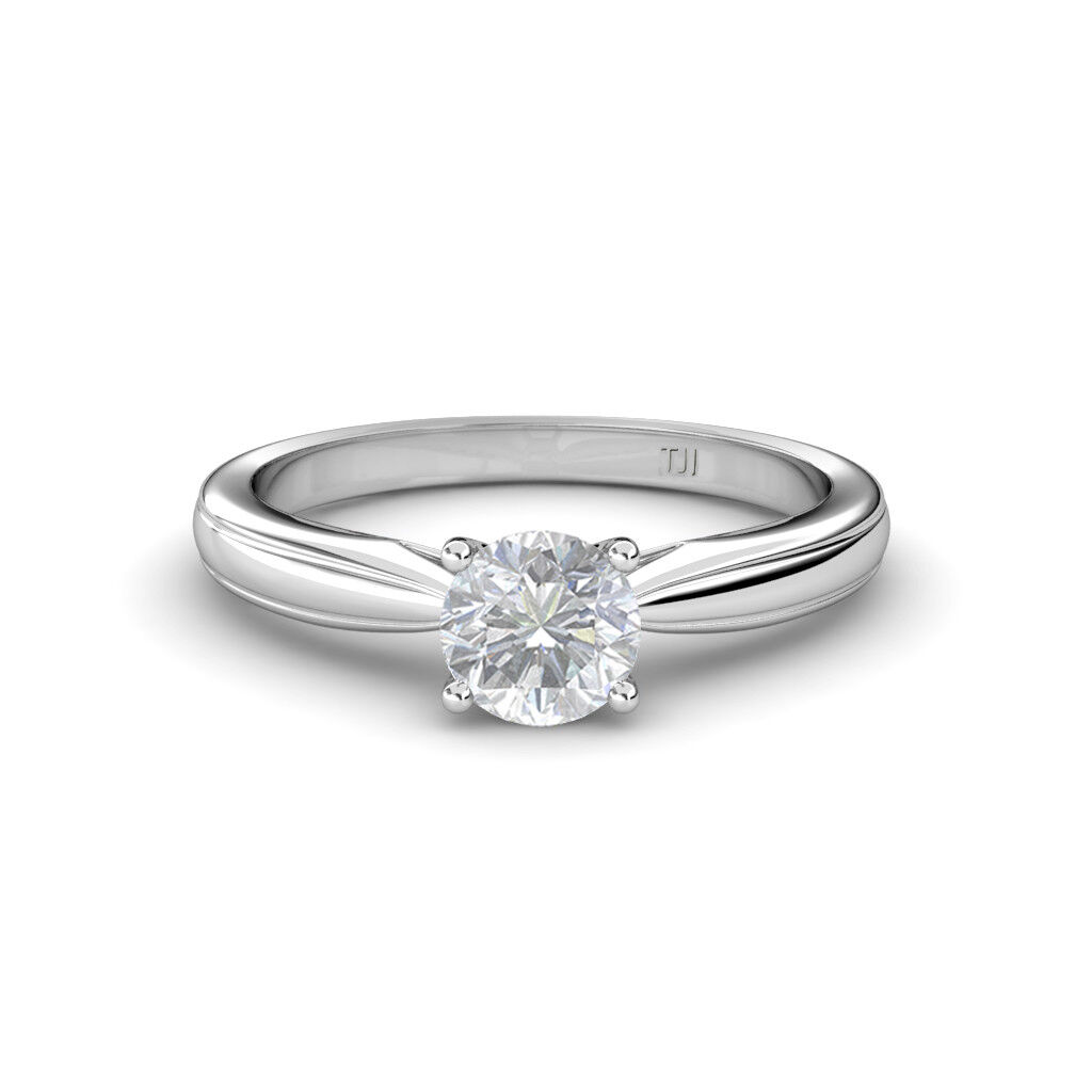 Round White Sapphire Women Solitaire Engagement Ring 14K gold JP 79981