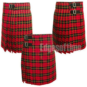 MENS-SCOTTISH-WALLACE-TARTAN-KILT-SIZES-FROM-30-TO-50-INCH-W-3-BELTS-amp-BUCKLES