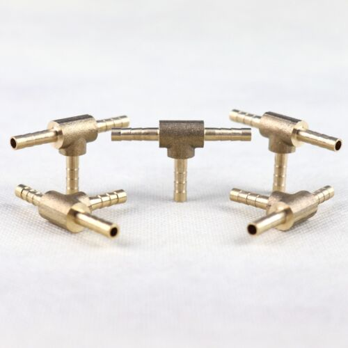 5Pcs HOSE BARB TEE Brass Pipe 3 WAY T Fitting Thread Gas Fuel Water 1/84mm