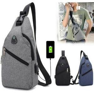 Details zu Herren Sling Bag Brust Schulter Rucksack Crossbody Handtasche Mit USB Anschluss