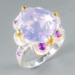 Handmade-Natural-Lavender-Amethyst-925-Sterling-Silver-Ring-Size-8-75-R114745