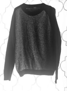 Gap-Size-L-Long-Sleeve-Gray-Black-Sweater-Charcoal-Heathered-100-Cotton-Top