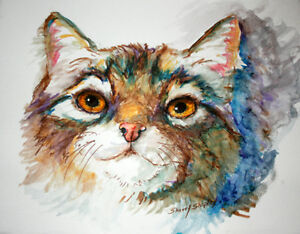 Cat-Srudy-Original-Watercolor-Art-Painting-Sherry-Shipley