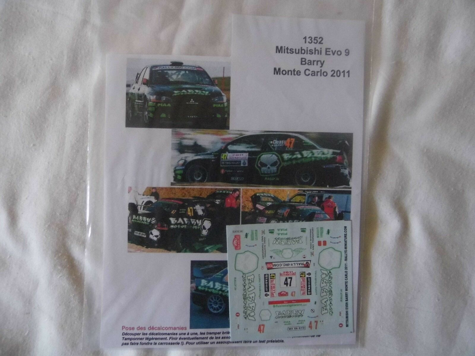 NEW 1 43 MITSUBISHI EVO9 Decal Barry 2011 Monte Carlo Rally Motorsport