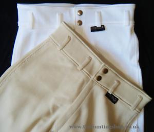 Señoras 28  Regular Pantalones De Montar blancooo  Caza Concurso Completo Ecuestre Equitación mostrando