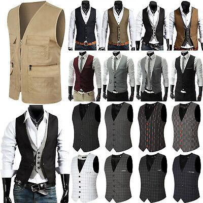 Herren Anzug Weste Anzugsweste Formales Slim Fit Party Hochzeit Jacke Übergröße | eBay