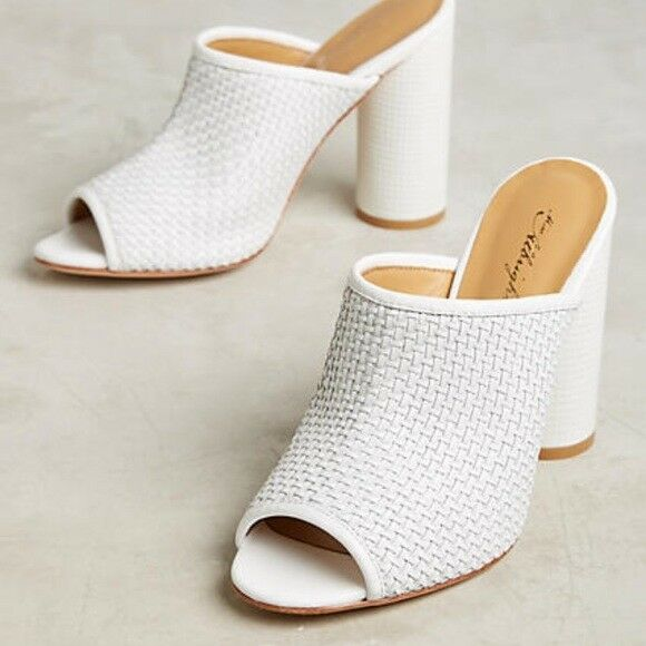 Miss Albright Womens Koko Woven Leather Open Toe Mules shoes White size 8 New