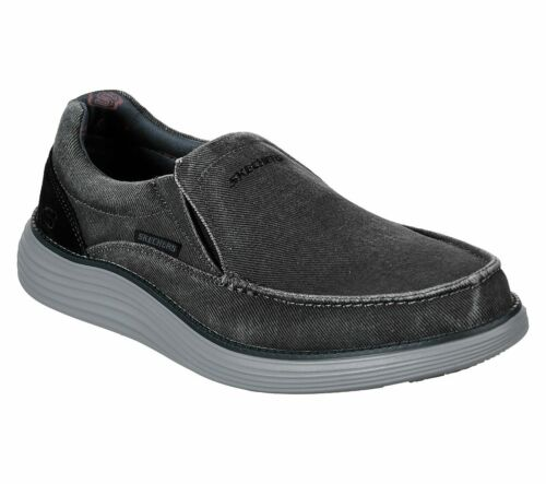 Skechers Black shoe Men/'s Canvas Memory Foam Slipon Comfort Loafer Vintage 66014