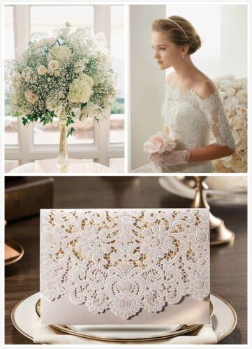 **Special Offer** 100 X Ivory Laser Cut Wedding Invitation Cards**