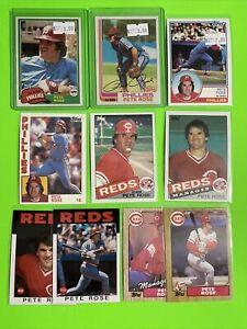 🔥1981-86🔥HOF REDS / PHILLIES - PETE ROSE - Topps Baseball Card LOT X10