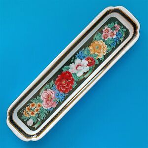 VINTAGE NEIMAN MARCUS HAND PAINTED FLORAL PORCELAIN SERVING TRAY GOLD LEAF TRIM