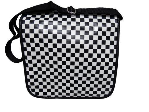Ska B/&W check S//W PVC Messenger Shoulder Bag 2-Tone Punk Skinhead Oi LP Tasche