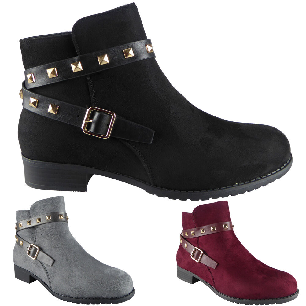 New Womens Ladies Buckle Strap Studs Casual Work Low Heel Ankle Boots Shoes Size