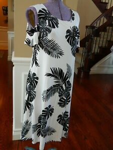 OLD-NAVY-SMALL-S-TALL-Cold-Shoulder-Black-White-Palm-Print-Dress-NWT-Z193