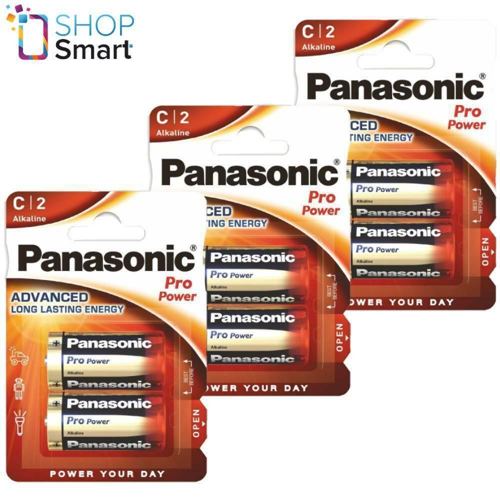 6 panasonic pro power alkaline c lr14 batteries 1.5v baby r14 mn1400 am2 e93 new