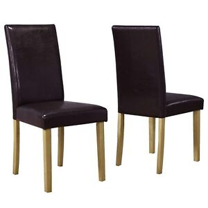 Image Is Loading Pair Brown Faux Leather Dining Chairs High Back