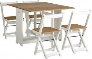 SANTOS-WHITE-amp-DISTRESSED-WAXED-PINE-FOLDING-BUTTERFLY-DINING-TABLE-amp-4-CHAIRS