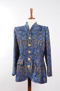 YSL Yves Saint Laurent Variations Vintage Blue Gold Blazer Jacket F44 US12 #W1
