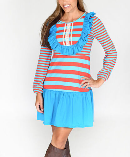 Jelly-The-Pug-Women-Blue-Stripe-Rosetta-Dress-S-M-L-XL-XXL-RRP-75
