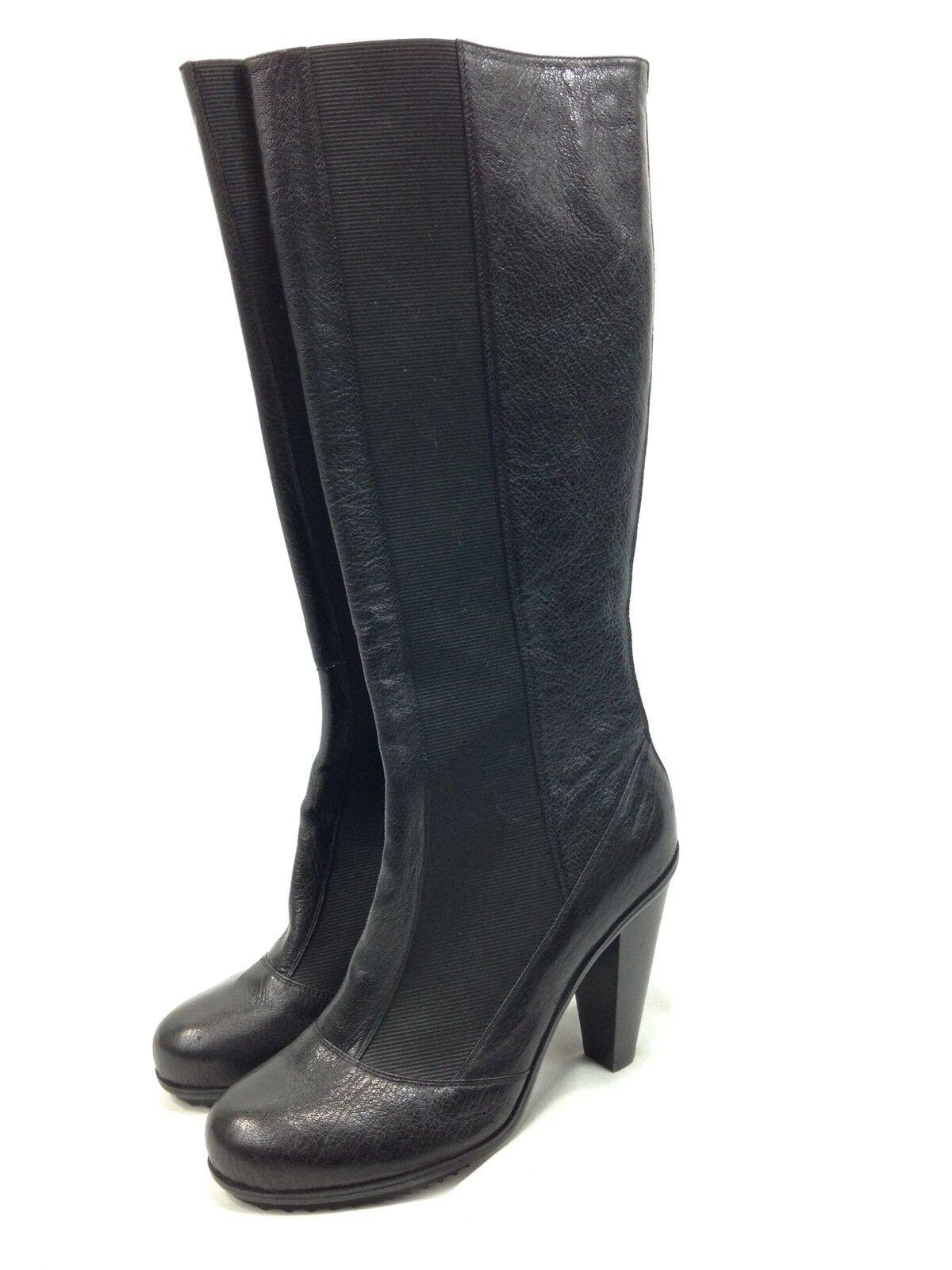 NEW women Karan DKNYC Roana Tall Boots Womens 9 Black Zip Heels Pumps Elastic