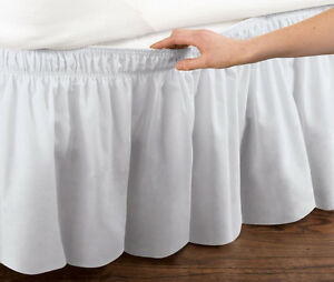 White-Elastic-Ruffled-Bed-Skirt-Wrap-Around-Easy-Fit-Twin-or-Full-Size